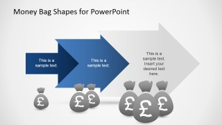 3 Steps Arrow Metaphor of Growth with British Pound Money Bags Clipart