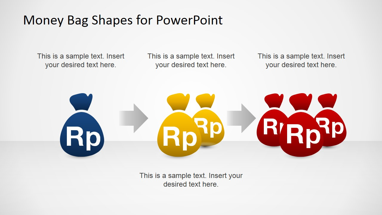 Money Bags with Rupiah Currency PowerPoint Shapes