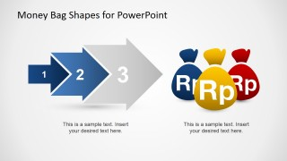 Slide Design Arrows Chevron Money Bags for PowerPoint