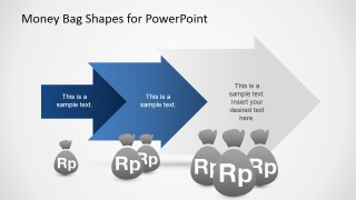 PowerPoint Shapes of Money Bags with Rupiah Currency and Chevron Arrows