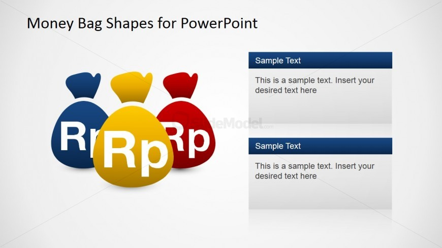 PowerPoint Shapes of Three Money Bags with Textboxes