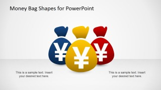 Clipart for PowerPoint Three Money Bags Yen Currency Symbol