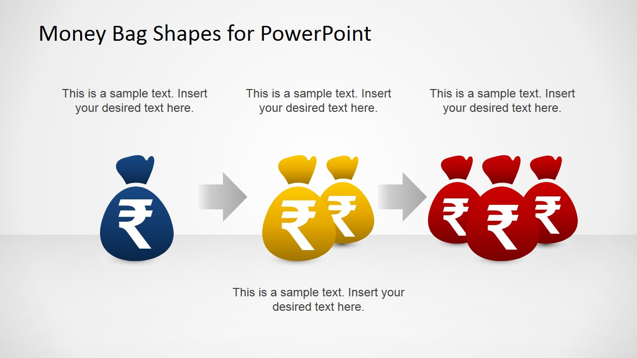 Money Bags with Indian Rupee PowerPoint Template - SlideModel