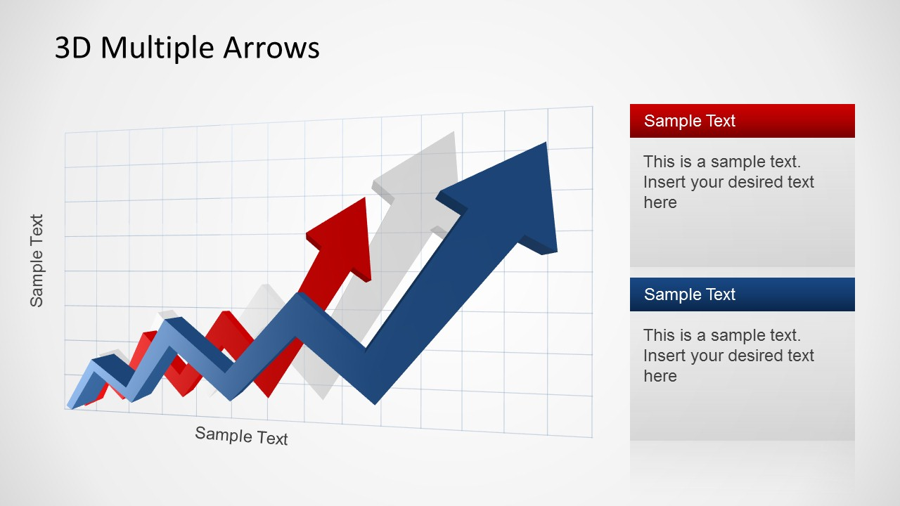 Blue and Red 3D PowerPoint Arrows showing an increasing trend.