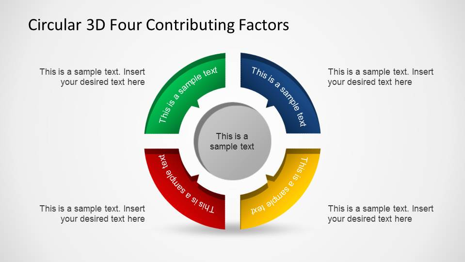 Circular 3D 4 Steps pointing a concentric cylinder PowerPoint Diagram
