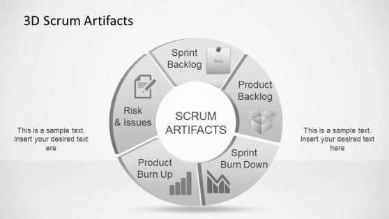 3D Agile Scrum Artifacts PowerPoint Diagram