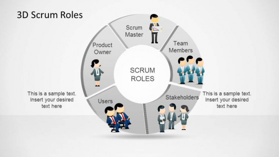 3D Agile Scrum Roles PowerPoint Diagram