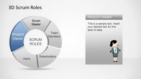 3D Agile Scrum Roles PowerPoint Diagram Product Owner