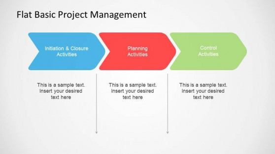 Flat Basic Project Management PowerPoint High Level Stages