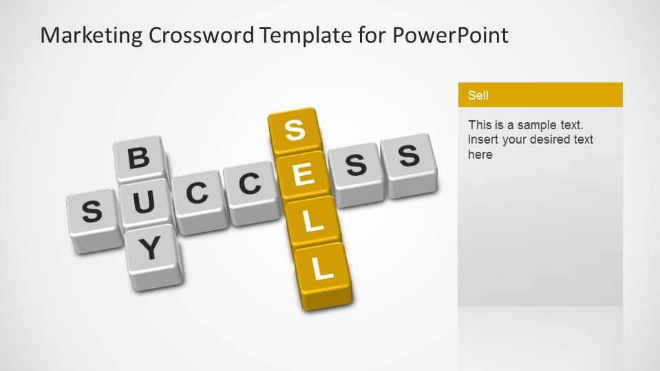 Marketing Crossword with buy, sell and success keywords