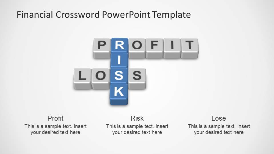 Profit , Loss and Risk Crossword created with PowerPoint objects