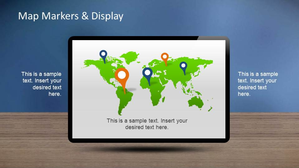 World Map with gps markers inside monitor