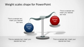 Weight Scales PowerPoint Shapes Opposing Concepts blue and red