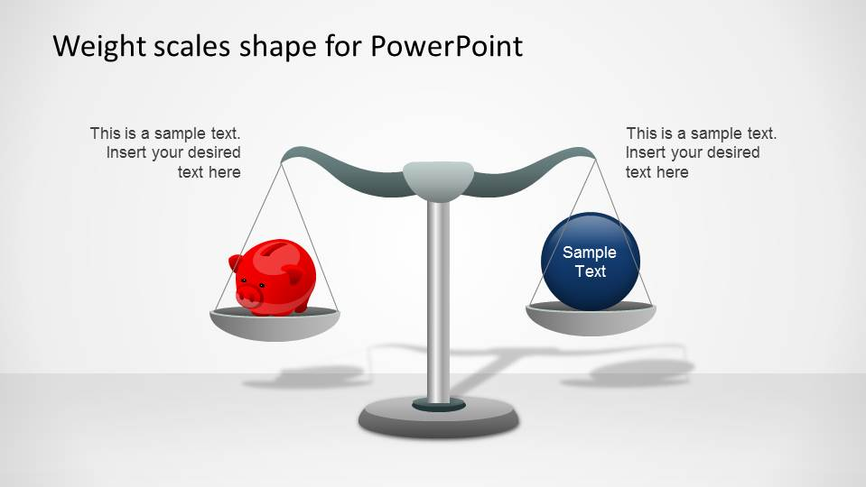 PowerPoint Weight Scale comparing the concept of saving vs a blue ball that can be edited.
