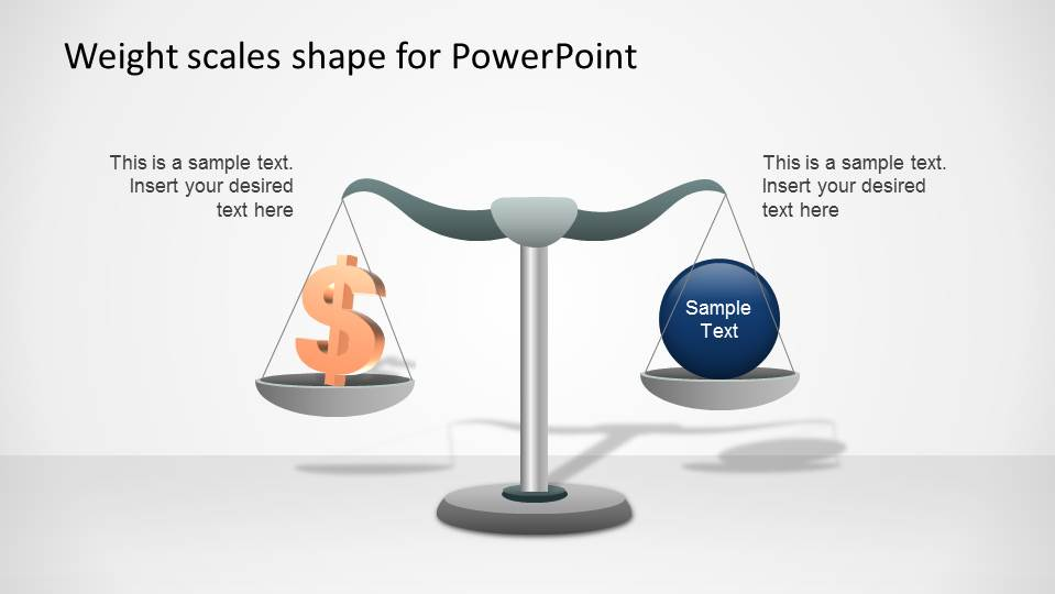 Weight Scale comparing a dollar sign versus generic concept.
