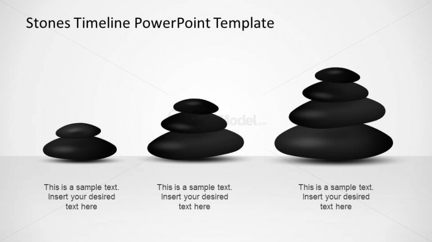 Three Stone timeline PowerPoint Template milestones showing progress with increasing piles.