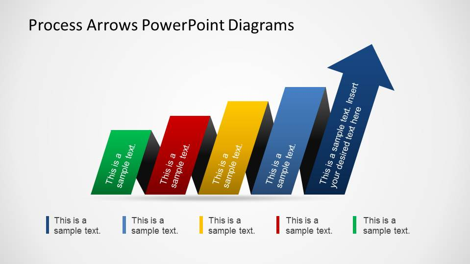 Arrows Created as PowerPoint shapes flowing as horizontal funnel.