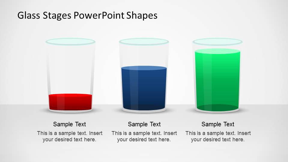 Three Comparison PowerPoint Glasses with Red  Blue and Green content