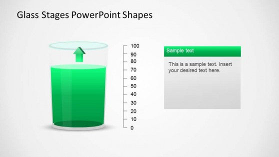Glass PowerPoint Shape with 3D arrow pointing up