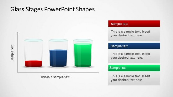 Three PowerPoint Glass Shapes compared in Cartesian Axis