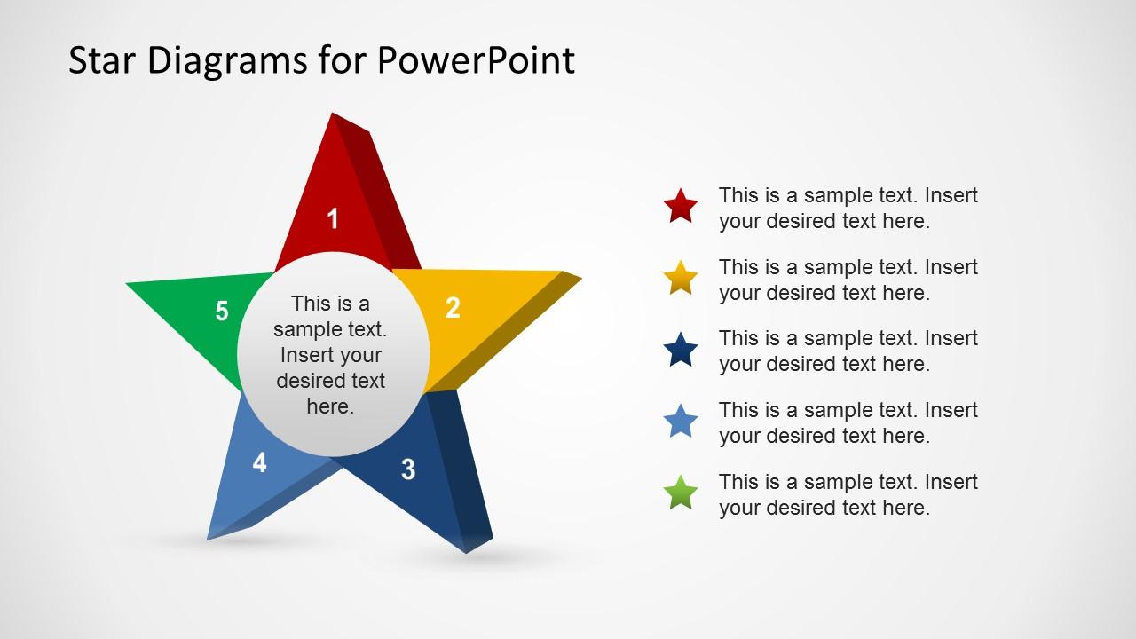 3d Stars Template For Powerpoint Slidemodel Star Diagram
