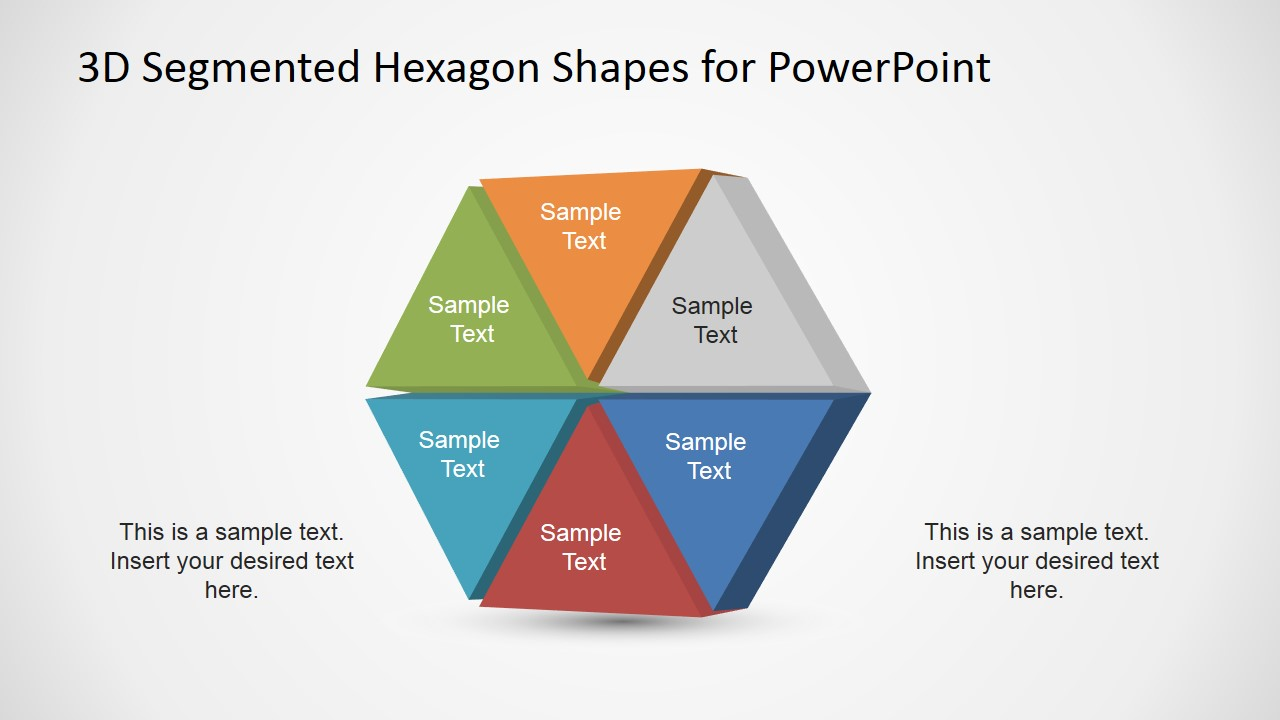 3d Segmented Hexagon Shapes For Powerpoint