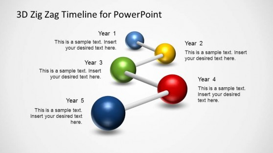 PowerPoint Timeline 5 Milestones 3D Balls and Sticks