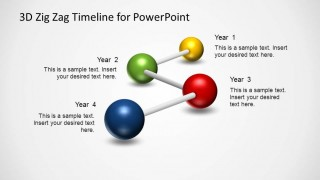 PowerPoint Diagram created with Four milestones using 3D spheres connected with sticks.