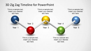 PowerPoint timeline created with five 3D Spheres connected with sticks in horizontal zig zag.