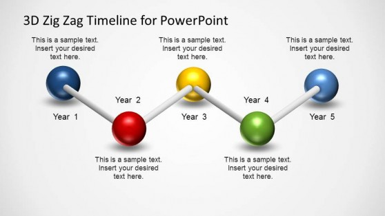 5 Steps PowerPoint Timeline using a Zig Zag Ball & Sticks Model