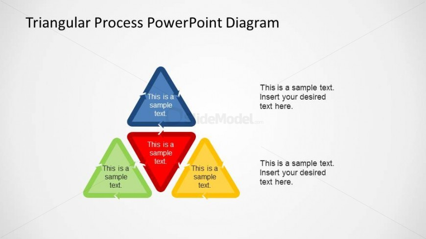 Four Triangular Process PowerPoint Shapes composing a High Level Triangle.