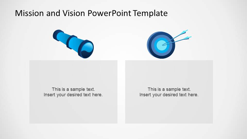 Mission and Vision Statements Metaphor Representation with Telescope and Target PowerPoint Shapes