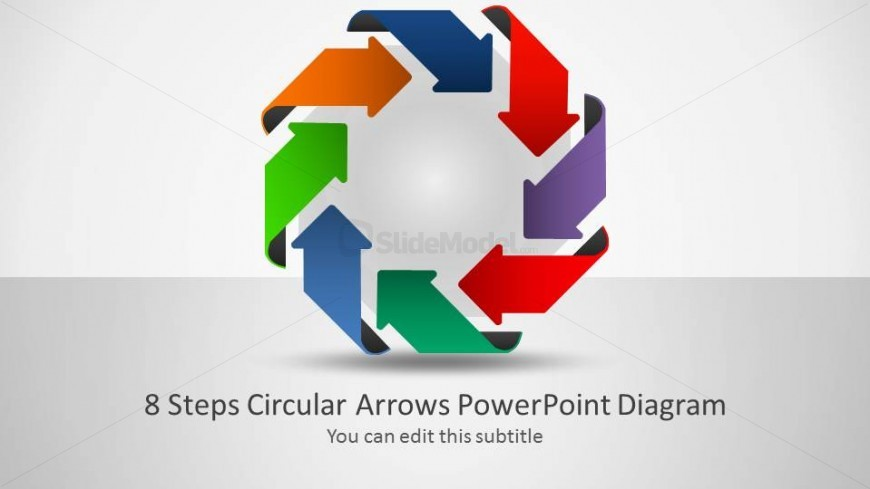 Octagon surrounded of Arrows in clockwise flow forming and 8 Steps Diagram