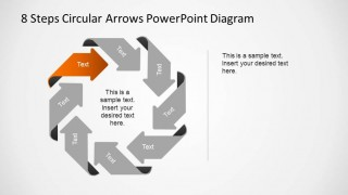 8 Steps Circular Arrows PowerPoint Diagram with first step labeled