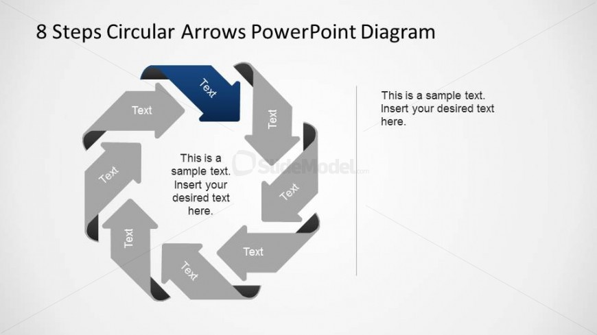 8 Steps Octagonal Circular Arrows PowerPoint Diagram with Second Steps Highlighted and others greyed.