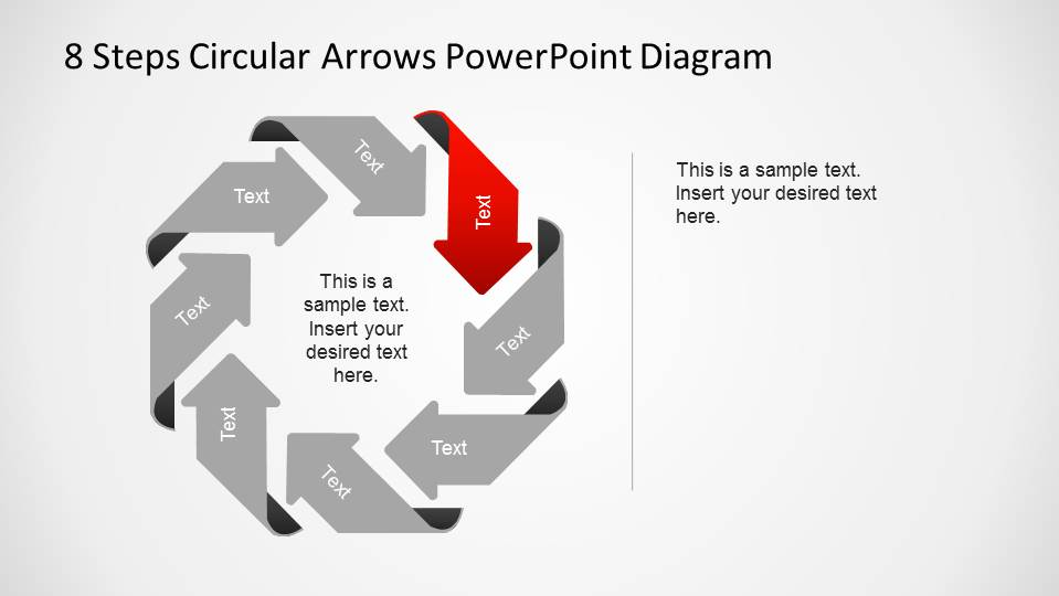 Third Step Highlighted in Circular Flow PowerPoint Diagram created with Arrows