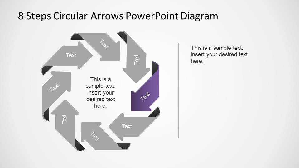 Fourth Steps Highlighted in an 8 Steps Circular Arrows PowerPoint Diagram