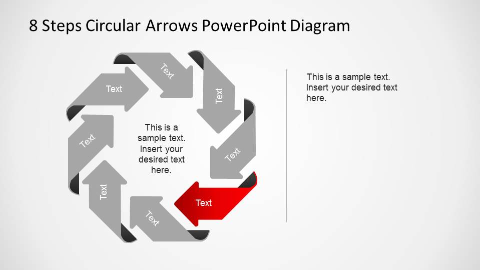 Fifth Step Highlighted in an 8 Steps Circular Arrows PowerPoint Diagram