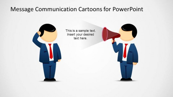 Message Sender with confused Receiver PowerPoint Cartoon