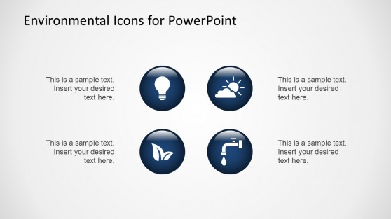 Flat Environmental Icons for PowerPoint Blue with 3D Effect
