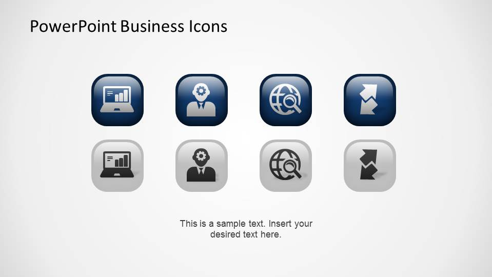 Four PowerPoint Business Icons with grey and blue themes.