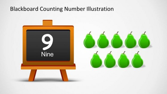 Nine Pears and Number 9 Written Down in Blackboard