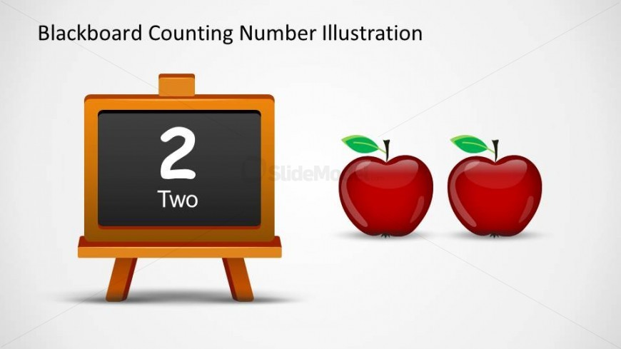 PowerPoint Blackboard shape with number two writen in word and number