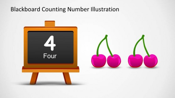 Number 4 Written in Blackboard and Four Cherry Shapes