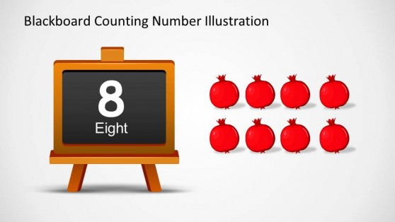 Eight Written in Blackboard with word and number