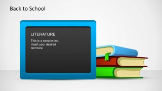 Light Blue Blackboard with Literature written and books as PowerPoint Shapes