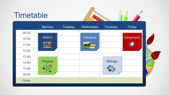 School Timetable Course Icons PowerPoint Template