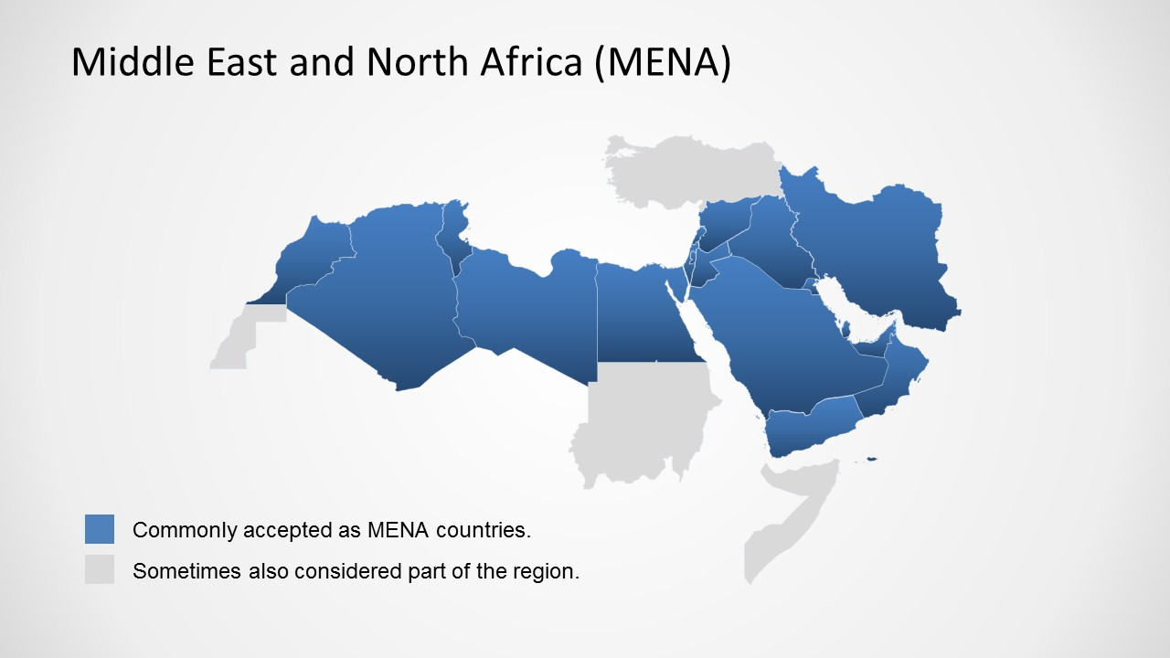 Middle East North Africa Map Template For Powerpoint