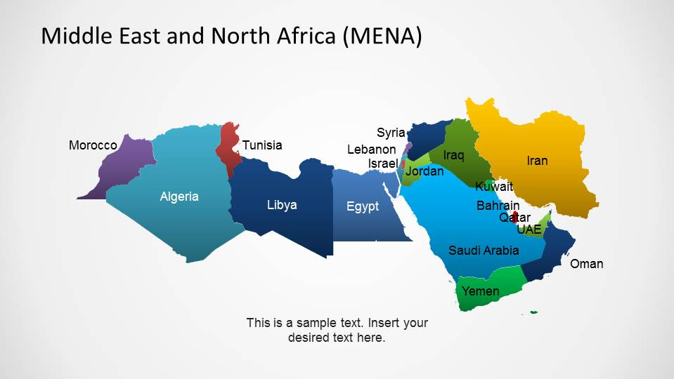 North Africa World Map.Middle East North Africa Map Template For Powerpoint Slidemodel