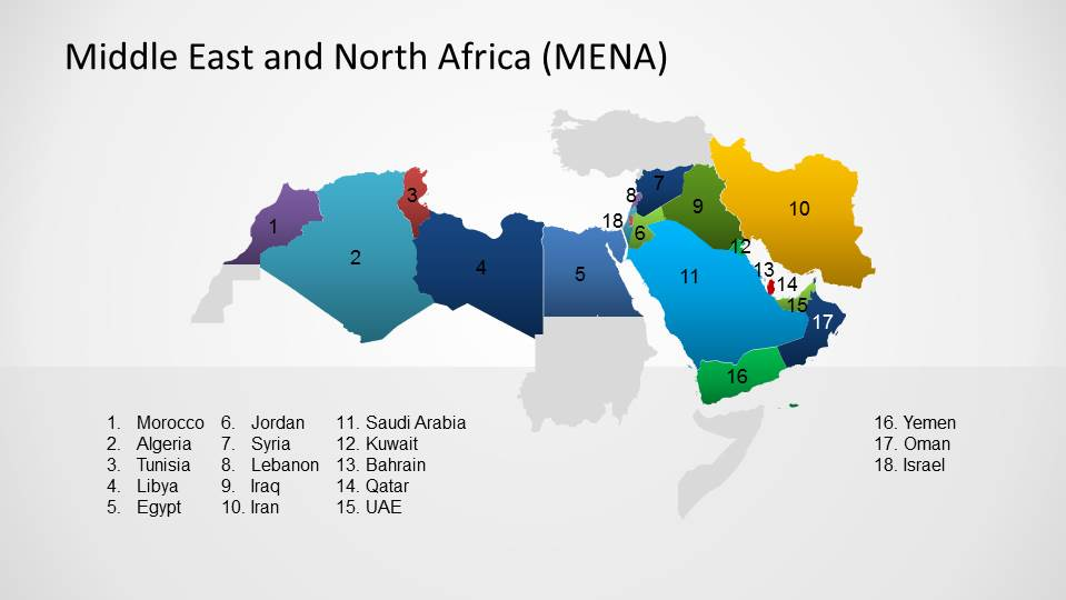 Middle east north africa map template for powerpoint slidemodel labeled countries of middle east and north africa mena region gumiabroncs Image collections